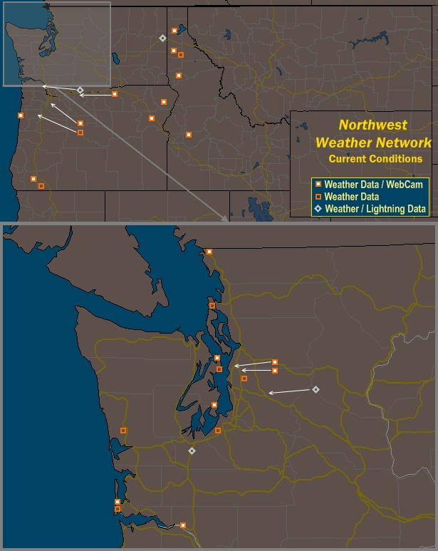 Mesomap of Northwest Weather Network Stations